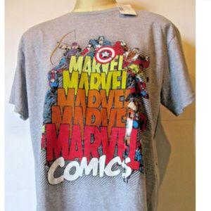 NWT MARVEL COMICS L GRAY T-SHIRT W/THE AVENGERS